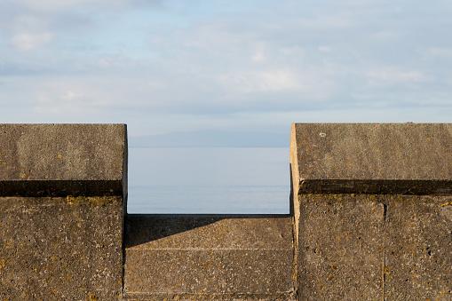 Parapet wall at a coastal beach location
