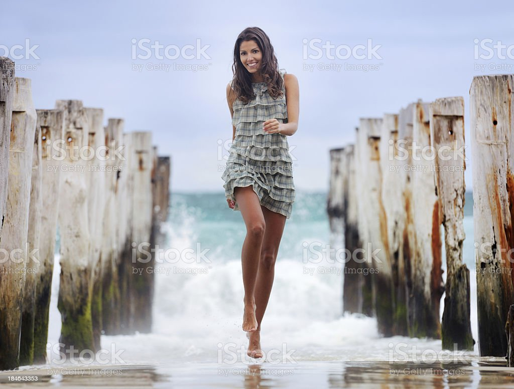 Beach Fun, Running from the Waves (XXXL) stock photo