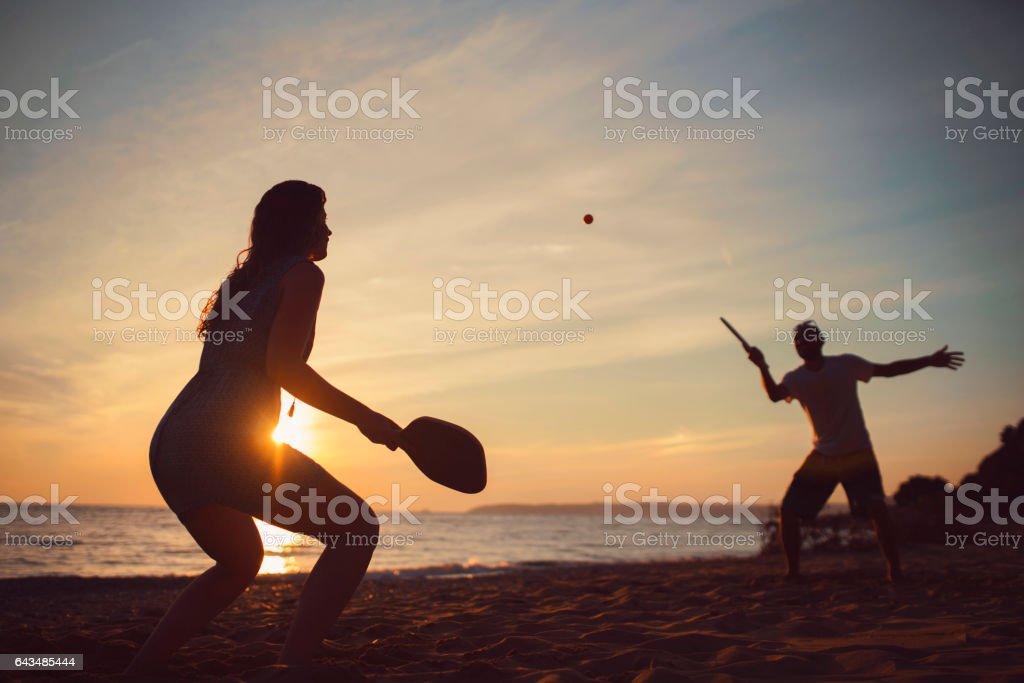 Giochi sulla spiaggia - foto stock