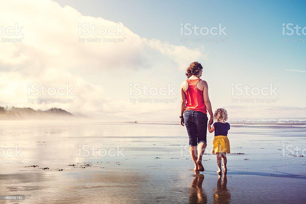 Beach Girls Walking Hand in Hand stock photo
