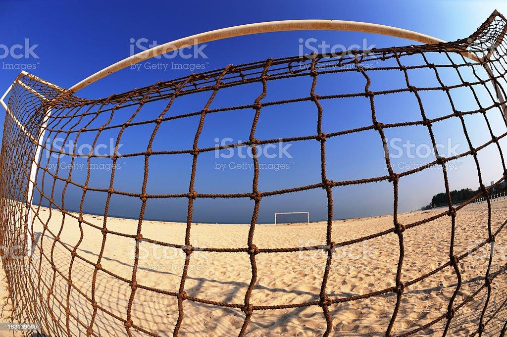 beach goal pole stock photo