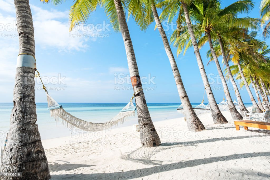 Beach hammock relaxation -- Tropical beach resort stock photo