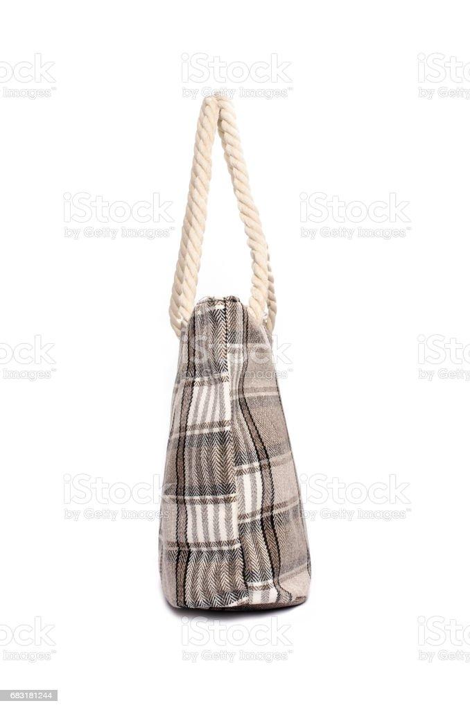 孤立在白色的海灘手提包 免版稅 stock photo
