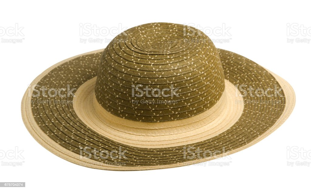 Beach hat.hat with boxes isolated on white background 免版稅 stock photo