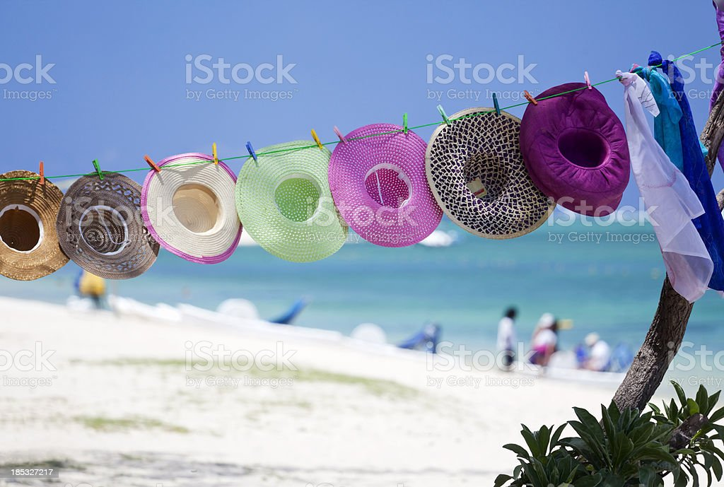 Beach Hats Mauritian Style stock photo