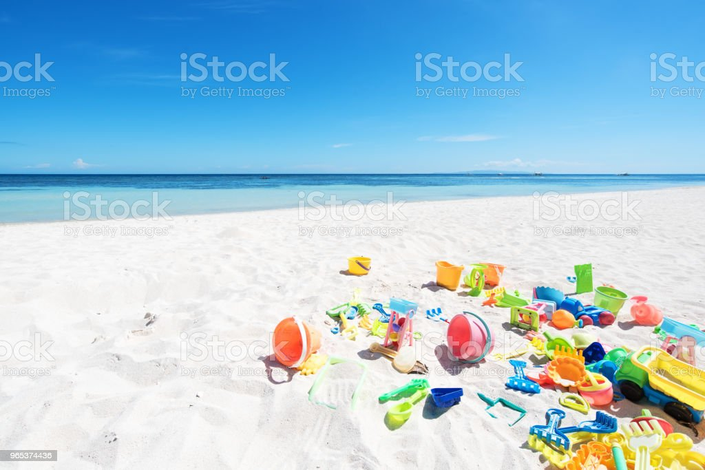 Beach Holiday Background -- Colorful Children's Beach Toys royalty-free stock photo
