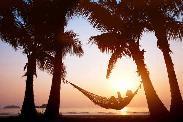 beach holidays - amaca foto e immagini stock