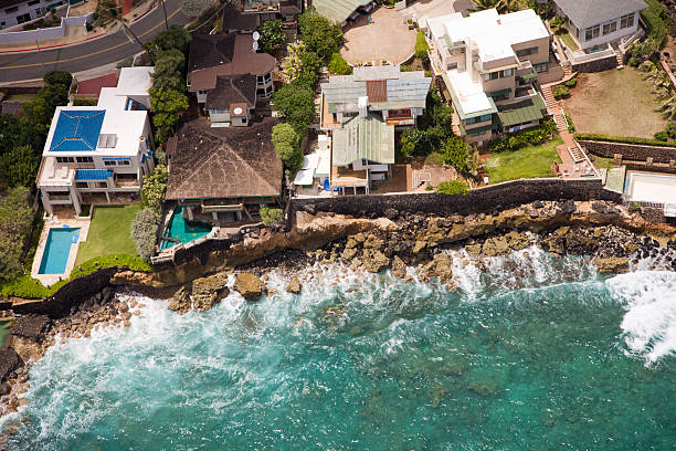 beach homes from the air - hawaii home stock photos and pictures