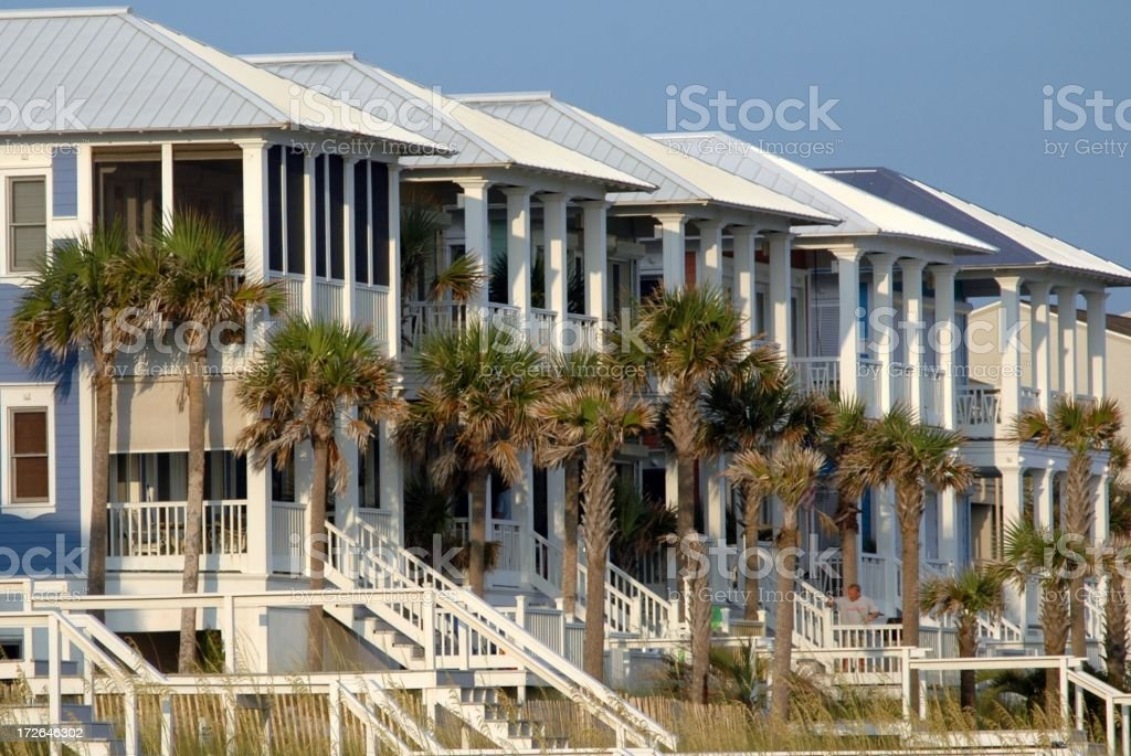 Beach Homes in Row stock photo