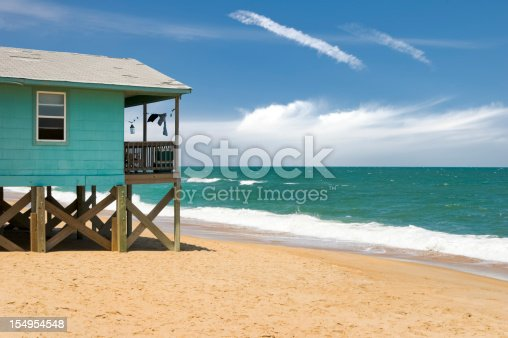 istock Beach House and Ocean Waves, Outer Banks, NC 154954548