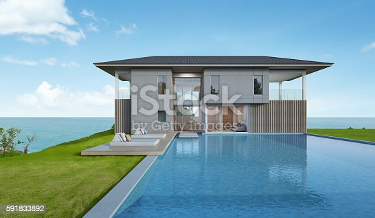 istock Beach house and pool with sea view in modern design 591833892