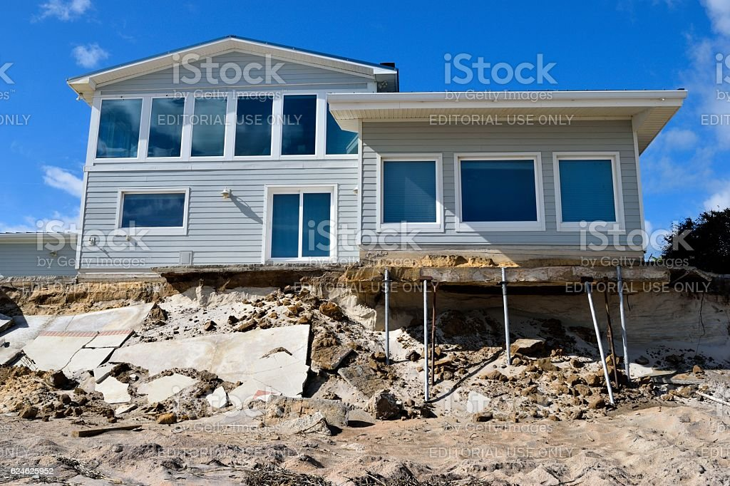 Beach House Damage stock photo