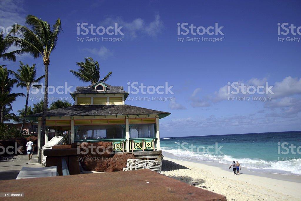 Beach house in the tropics royalty-free stock photo