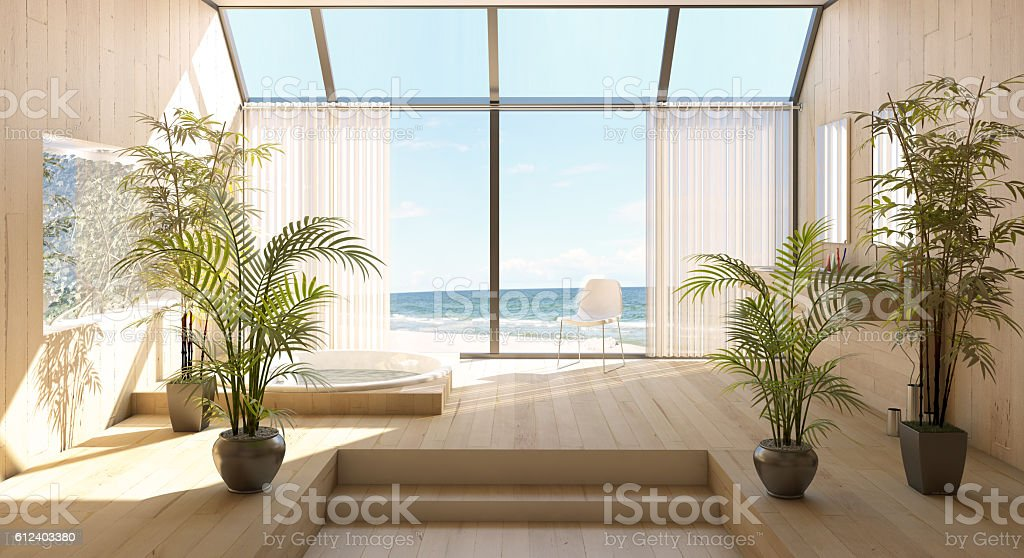 Beach House Interior At Seashore stock photo
