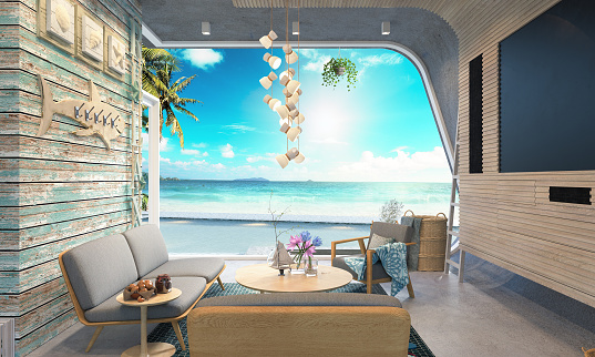 Beach house on sea view 3d rendering