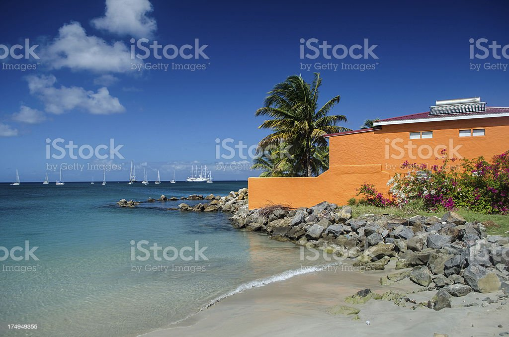 beach house or motel in exotic location royalty-free stock photo