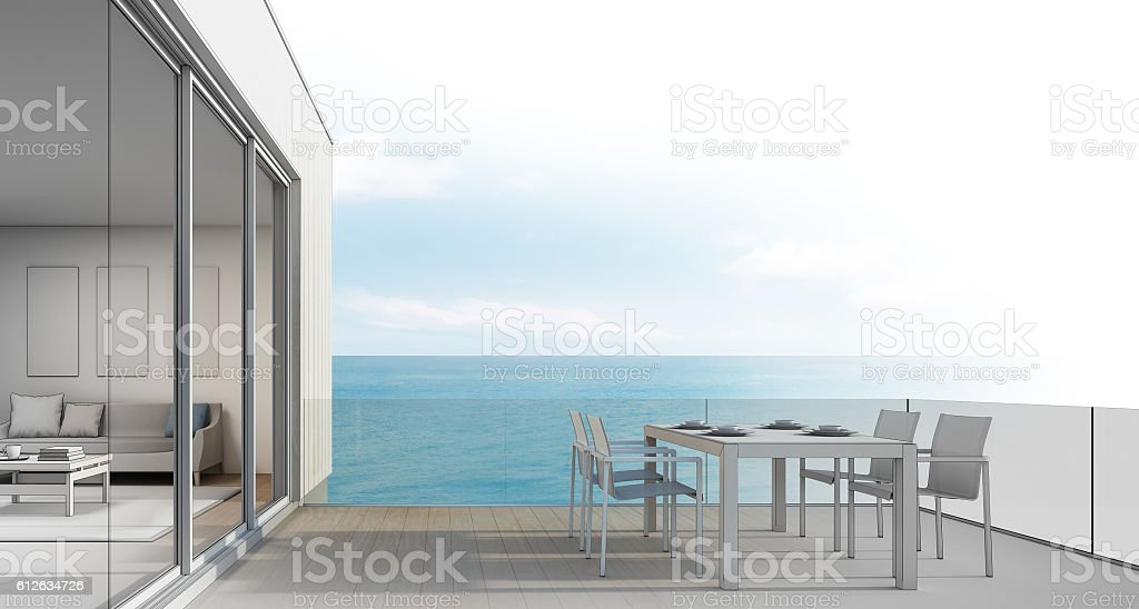 Beach house sketch design, Outdoor dining with sea view stock photo