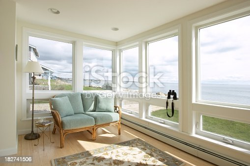 Sun room looking out over the ocean.