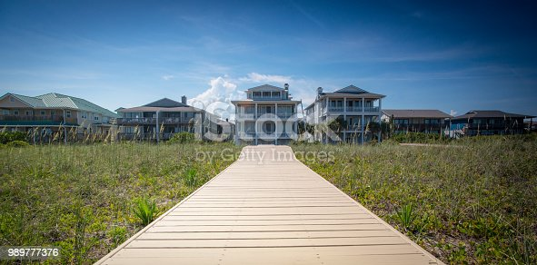 A long wood plank walkway leads to a large beach house.