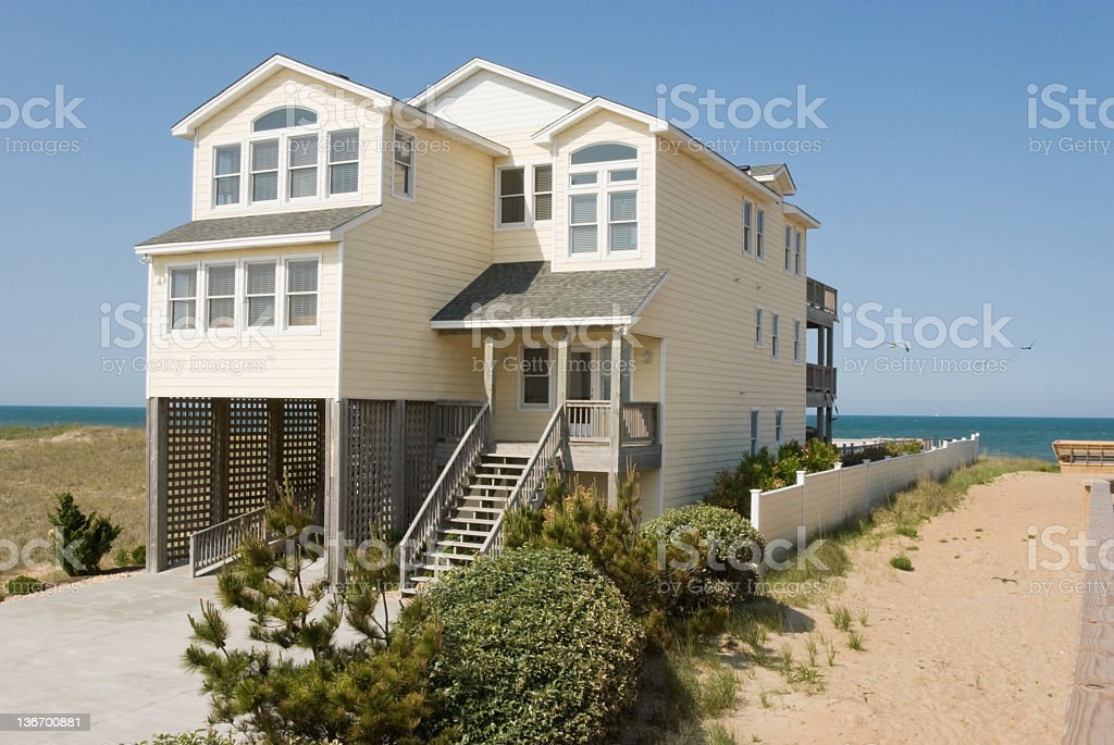 Beach House with Atlantic Ocean View, Outer Banks, NC stock photo
