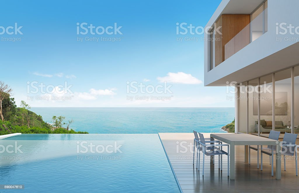 Beach house with sea view in modern design royalty-free stock photo