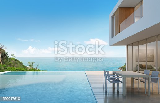 istock Beach house with sea view in modern design 590047610