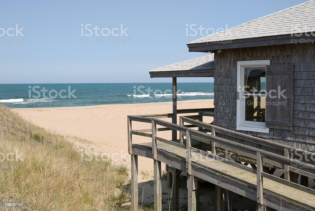 Beach House with Surf and Ocean Horizon stock photo