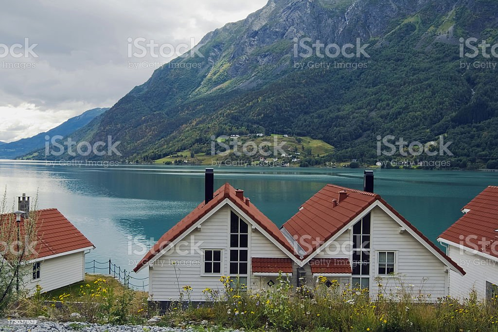 Beach houses by the fjord in Sogn, Norway. royalty-free stock photo