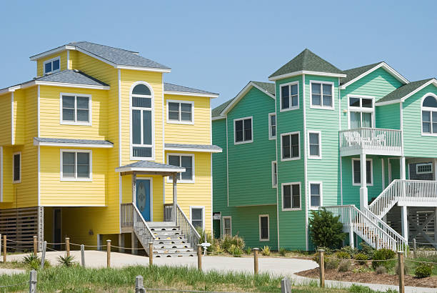 Beach Houses in Bright Colors at Seaside Resort stock photo