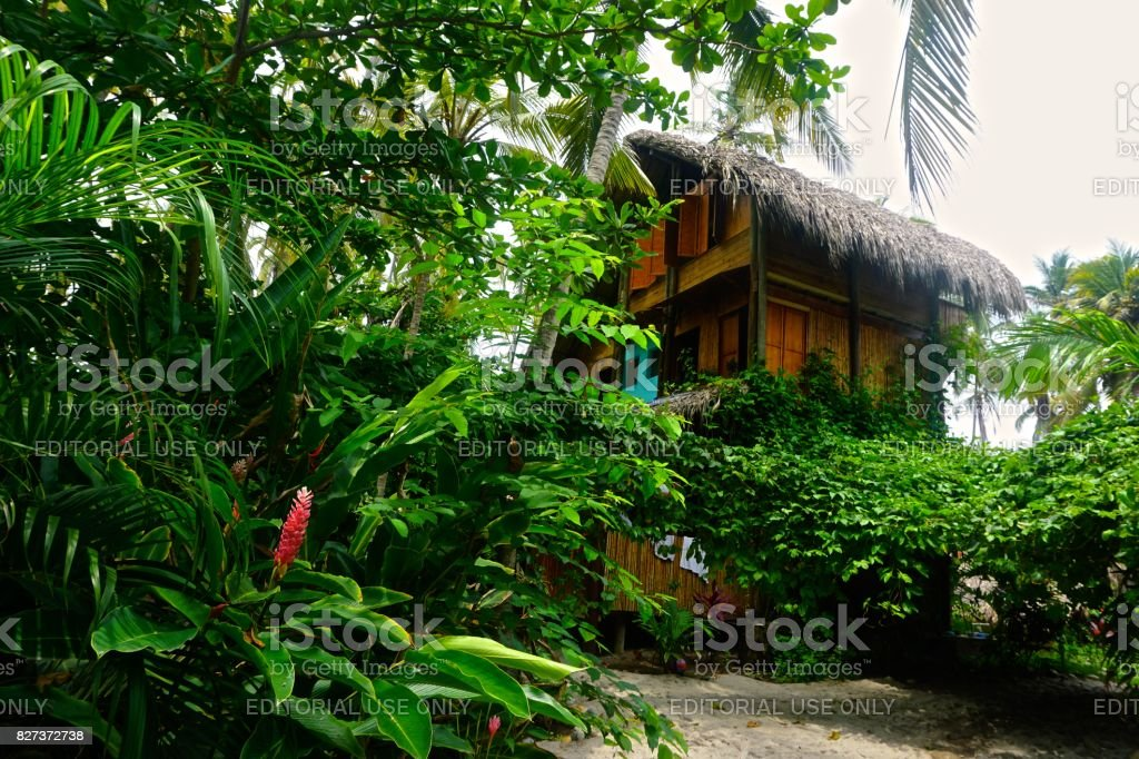 Beach hut in Colombia stock photo