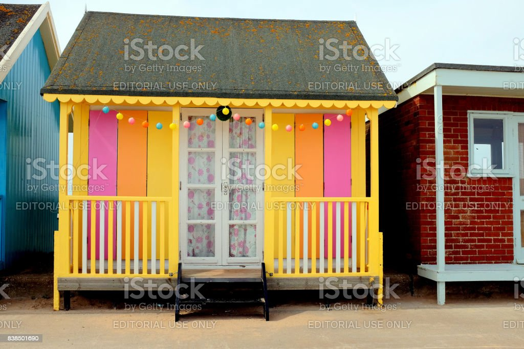 Beach hut, Mablethorpe, Lincolnshire. stock photo