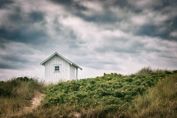 strandstuga ovanpå sanddyn - sand dune sweden bildbanksfoton och bilder