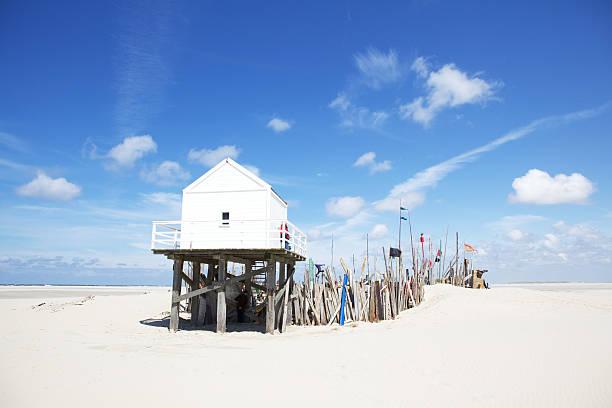 Beach hut on Vlieland stock photo