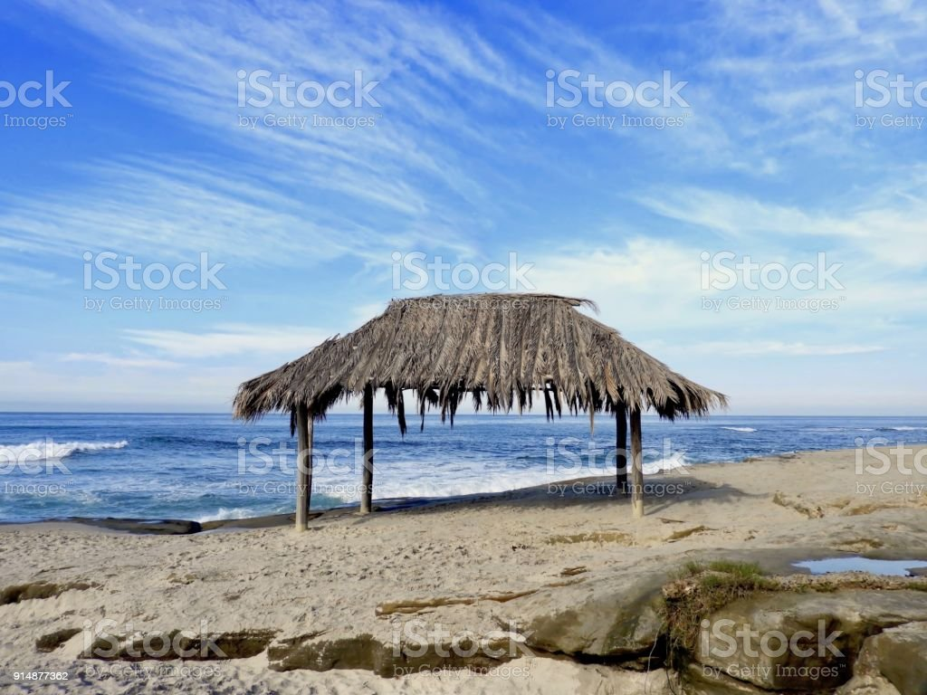 Beach Hut Waiting stock photo