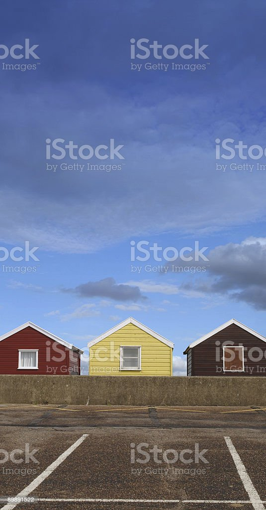 beach huts and parking spaces royalty-free stock photo