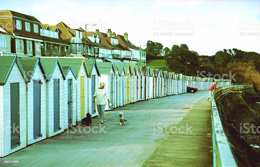 Beach huts and Promenade, Sidmouth, Devon, UK stock photo