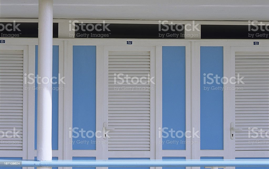Beach huts as an abstract architectural background royalty-free stock photo