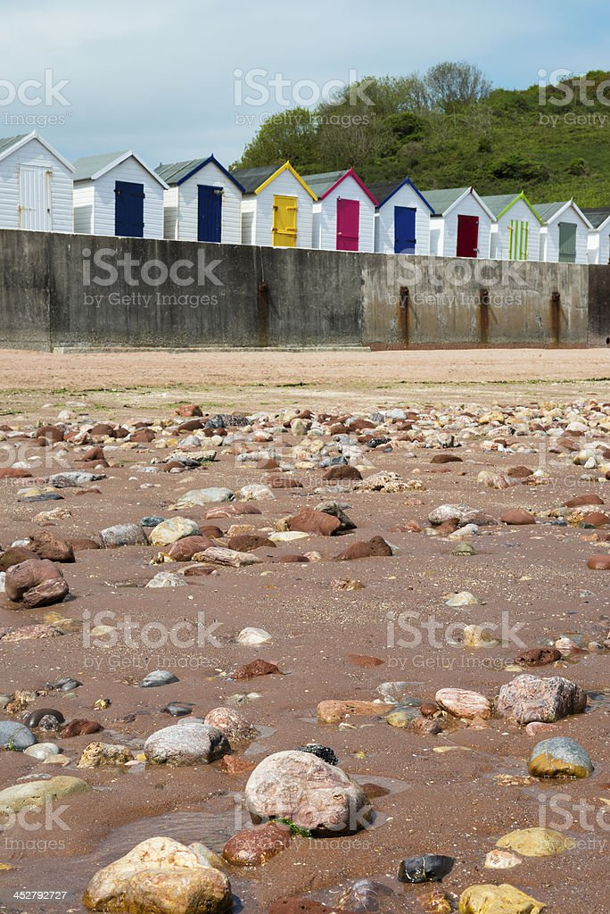 Beach Huts at Broadsands stock photo
