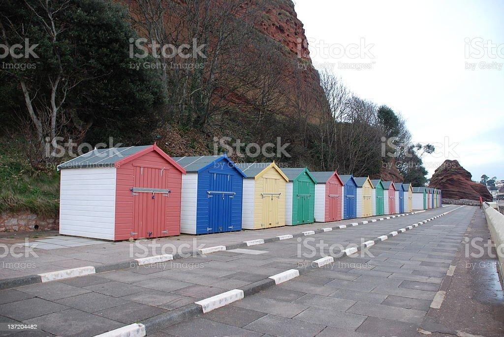 Beach huts at Coryton Cove stock photo