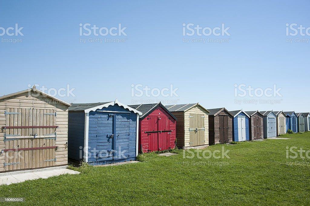Beach huts at Dovercourt, near Harwich, Essex, UK. royalty-free stock photo