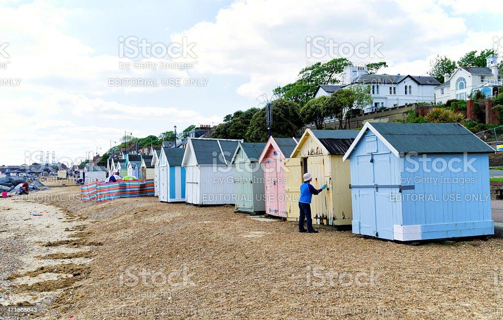 Beach huts at Felixstowe royalty-free stock photo