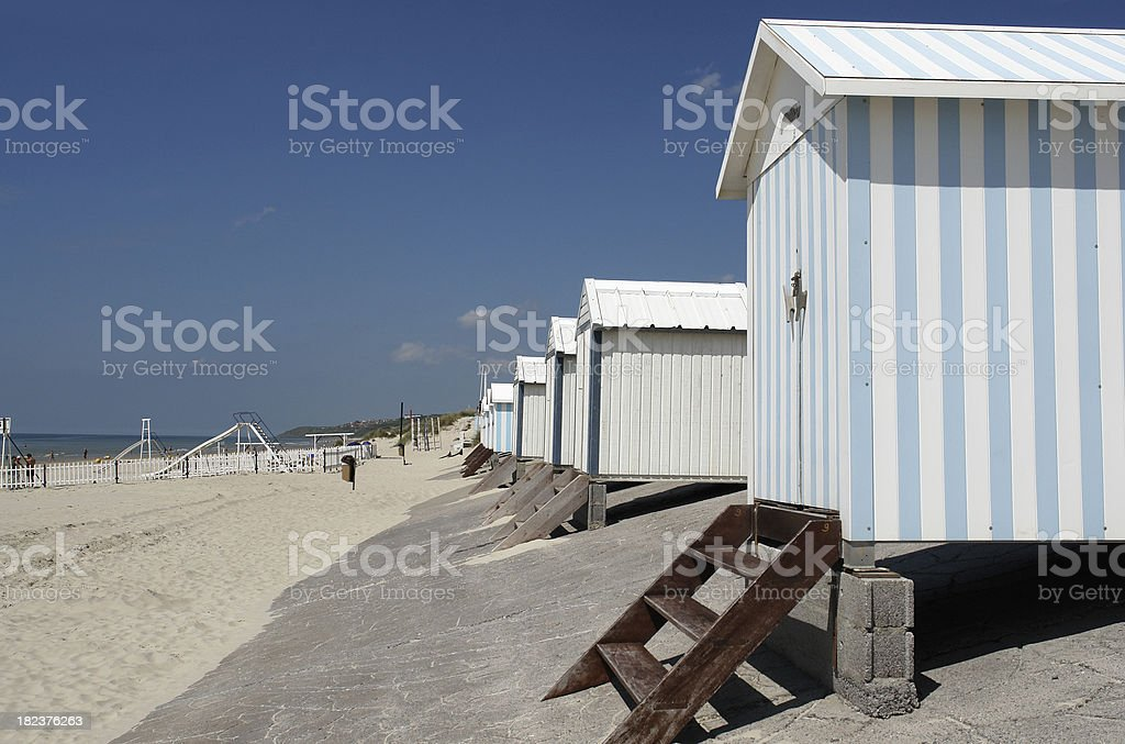 Beach huts at Hardelot, Le Touquet, France stock photo