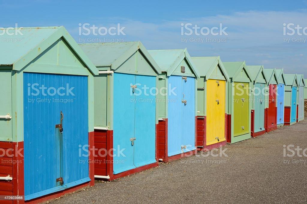 Beach Huts at Hove, Brighton, England stock photo