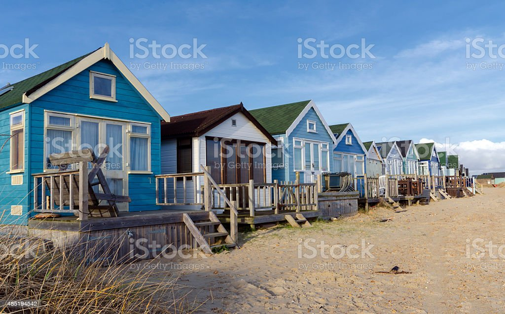 Beach Huts at Mudeford Spit stock photo