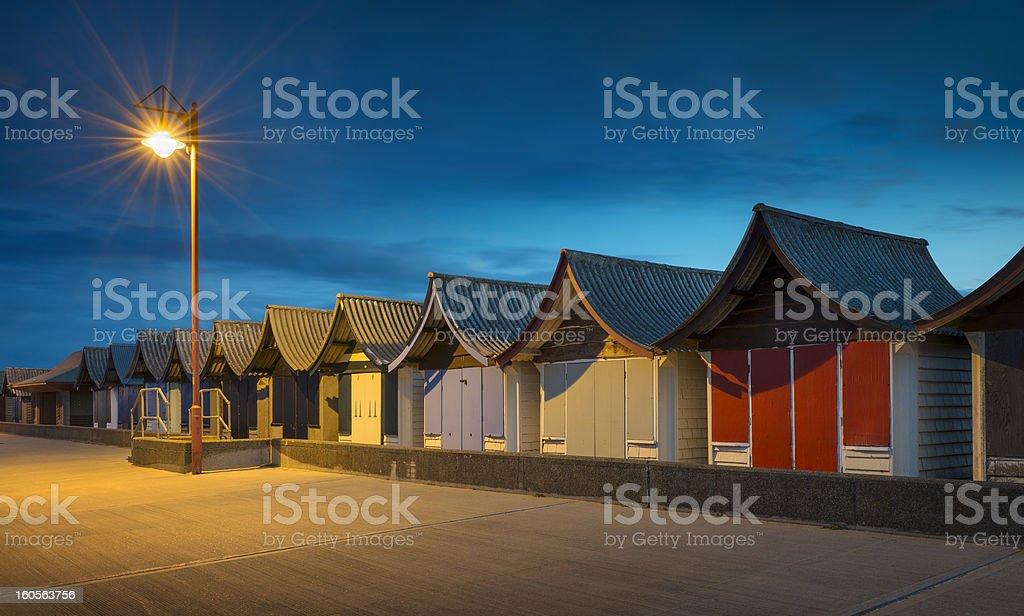 Beach Huts at Night, Mablethorpe, Lincolnshire, UK. royalty-free stock photo