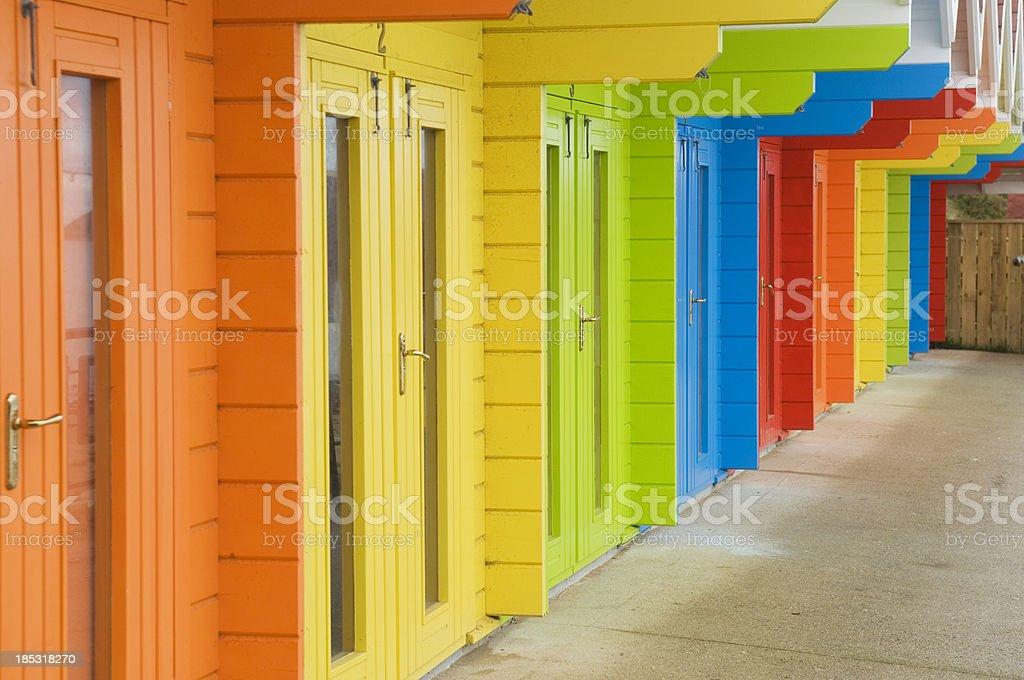 Beach huts at Scarborough stock photo