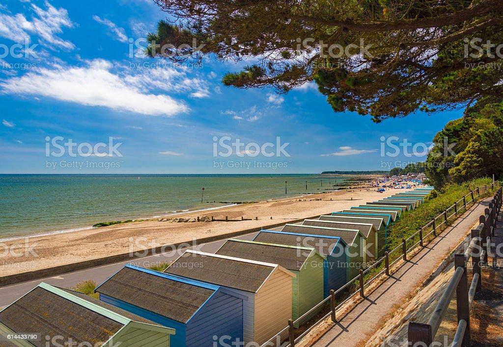 Beach Huts at Solent Beach, Hengistbury Head, Bournemouth, Dorset, England stock photo