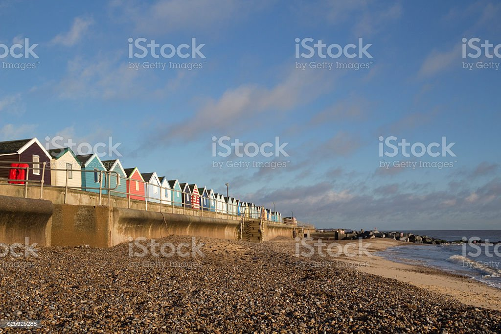 Beach Huts at Southwold, Suffolk, England stock photo