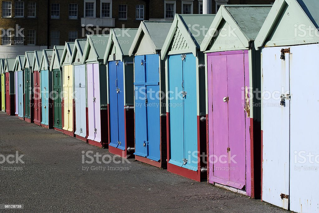 Beach Huts. Brighton Seafront. East Sussex. England stock photo