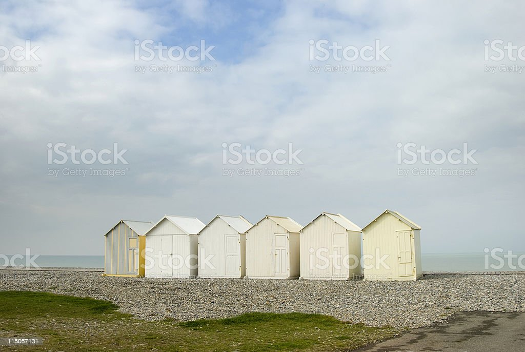 Beach huts Cayeux sur mer stock photo